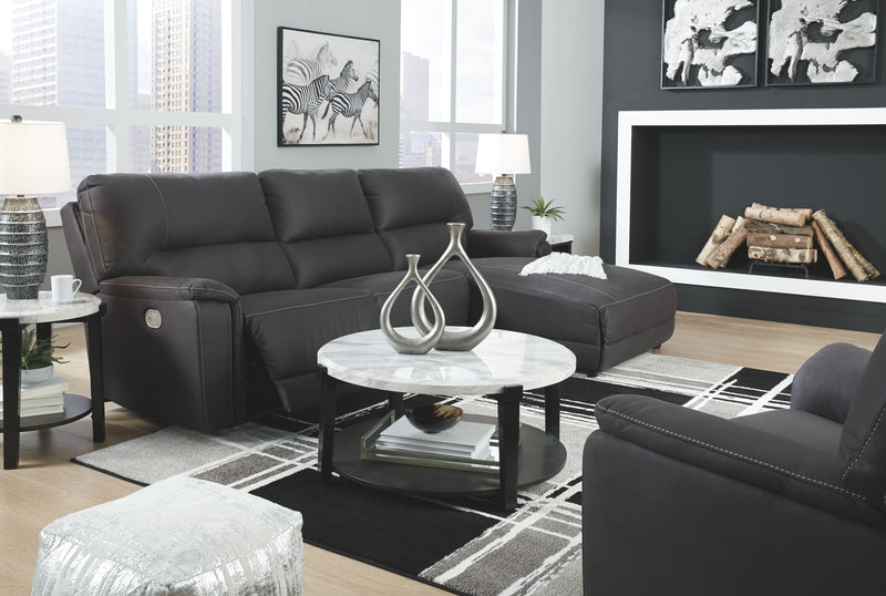 Henefer - Midnight - LAF Zero Wall PWR Recliner, Armless Chair, RAF Press Back PWR Chaise Sectional & PWR Recliner with ADJ HDRST