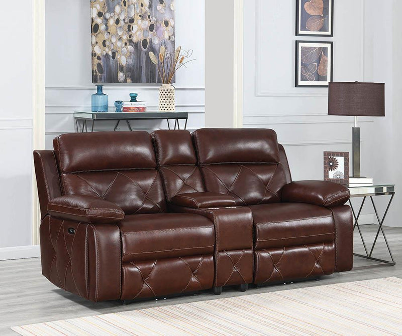 Chester Motion Collection - Chocolate - 3 Pc Power2 Loveseat