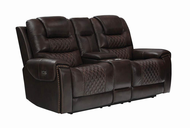 North Motion Collection - Dark Brown - North Cushion Back Power^2 Loveseat With Console Dark Brown