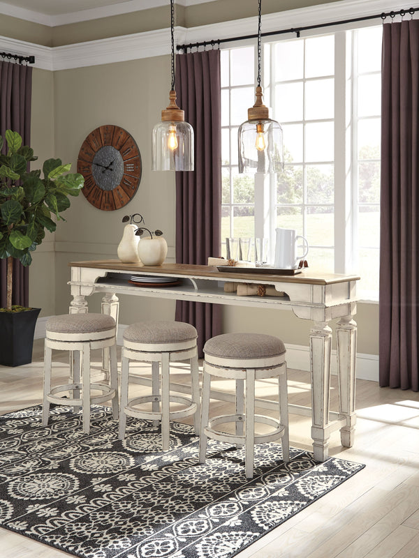 Realyn -Two-tone - 4 Pc.- Long Counter Table & 3 UPH Swivel Stools