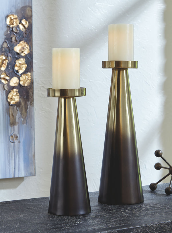 Theseus - Gold Finish/Brown - Candle Holder Set (2/CN)