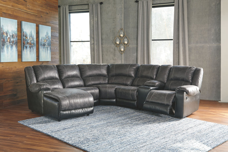 Nantahala - Slate - LAF Corner Chaise, Armless Chair, Wedge, Armless Recliner, Console with Storage & RAF Zero Wall Recliner Sectional