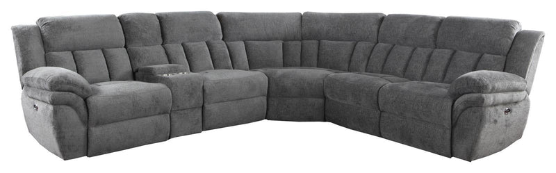 Charcoal - Bahrain 6-piece Upholstered Power Sectional Charcoal