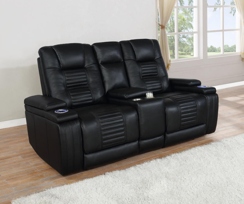 Black - Power2 Loveseat W/ Console