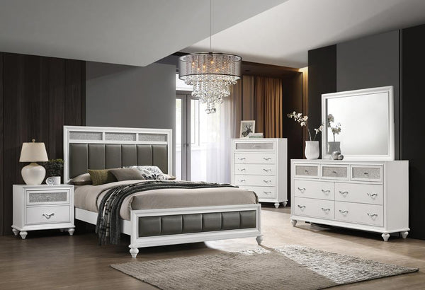 Barzini Collection - Grey - Barzini Queen Upholstered Panel Bed White
