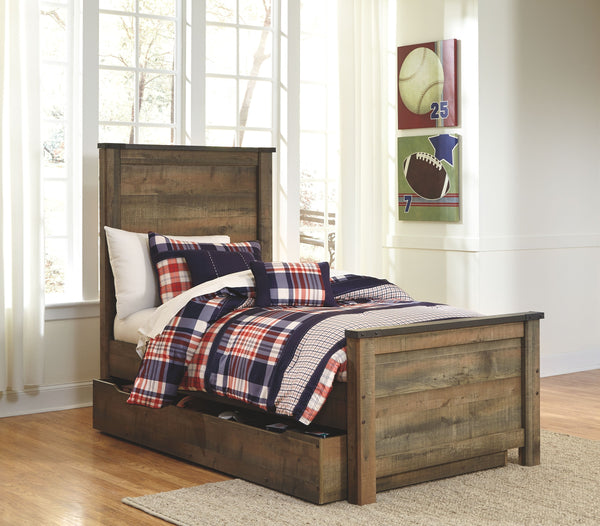 Trinell - Brown - Twin Panel Bed with 1 Large Storage Drawer