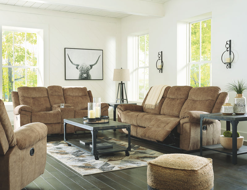 Huddle-Up - Nutmeg - REC Sofa with Drop Down Table, DBL REC Loveseat with Console, Rocker Recliner & Jandoree Table Set