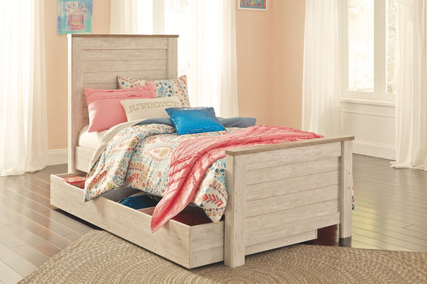 Willowton - Whitewash - Twin Panel Bed with 1 Large Storage Drawer