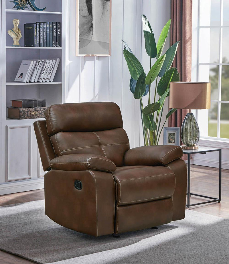 Damiano Motion Collection - Tri-tone Brown - Damiano Upholstered Glider Recliner Tri-tone Brown