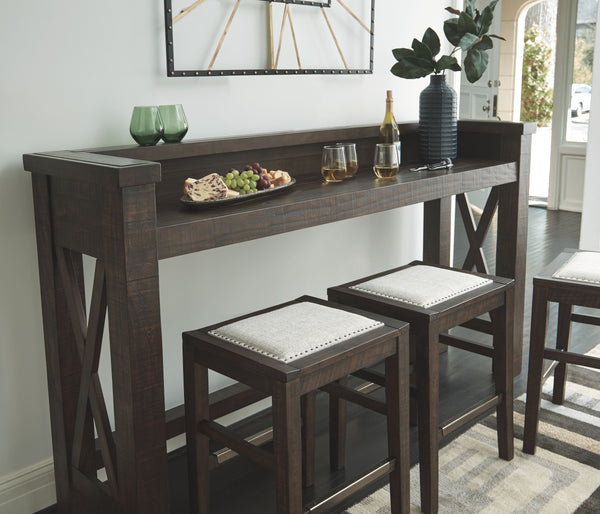 Hallishaw - Dark Brown - 4 Pc. - Bar & 3 UPH Stools