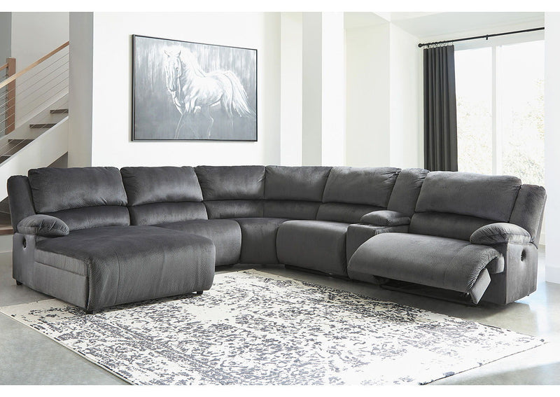 Clonmel - Charcoal - LAF Press Back PWR Chaise, Armless Chair, Wedge, Armless Recliner, Console with Storage & RAF Zero Wall PWR Recliner Sectional
