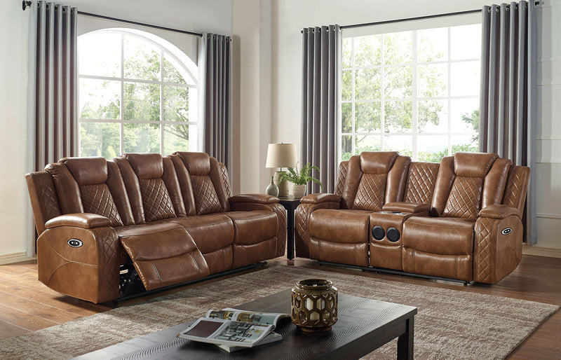 Alexia - Power Loveseat - Brown