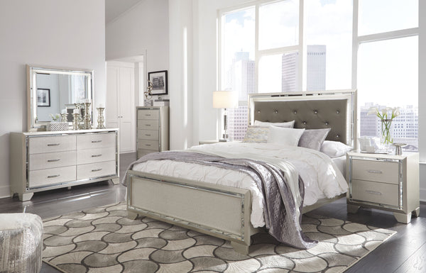 Lonnix - Silver Finish - 5 Pc. - Dresser, Mirror & Queen Panel Bed