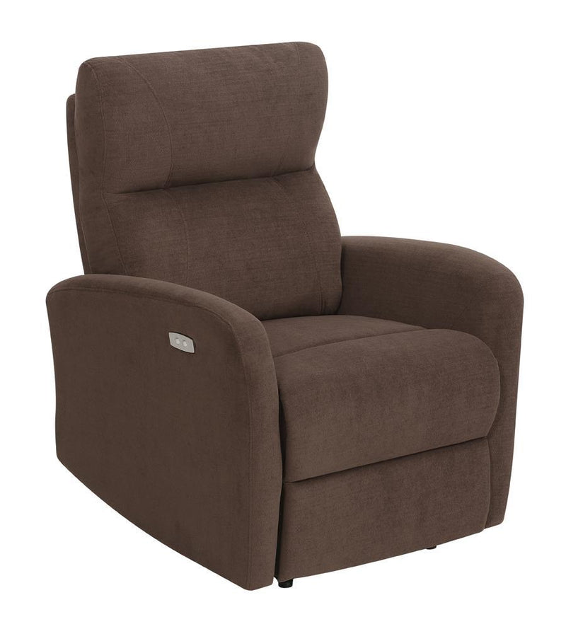 Brown - Upholstered Cushion Power Recliner Brown