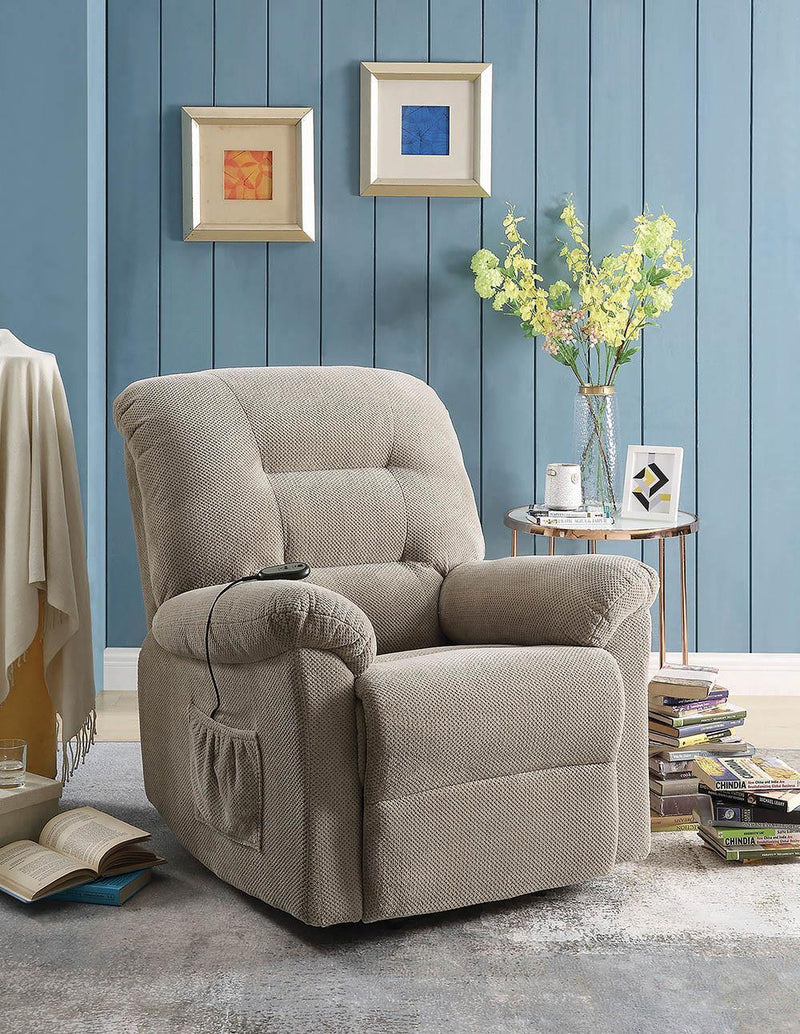 Living Room : Power Lift Recliner - Beige - Upholstered Power Lift Recliner Beige