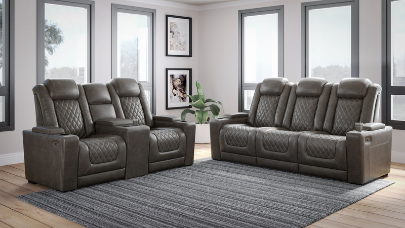 HyllMont - Gray - 2 Pc. - Power Reclining Sofa with Adjustable Headrest, Power Reclining Loveseat with CON/Adjustable Headrest