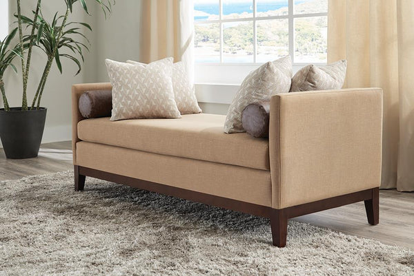 Amber/rice - Upholstered Wooden Legs Bench Amber And Brown