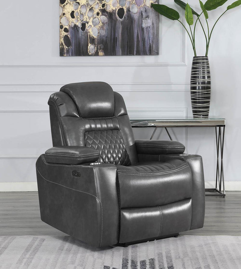 Korbach Motion Collection - Charcoal - Korbach Upholstered Power^2 Recliner Charcoal