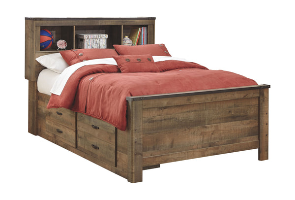Trinell - Brown - Full Panel Bed with 2 Storage Drawers