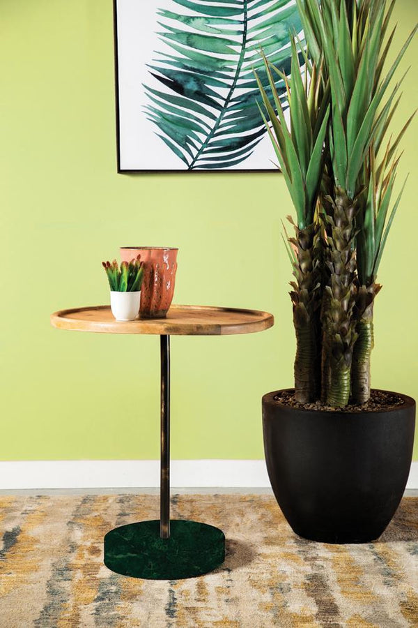 Round Marble Base Accent Table Natural And Green