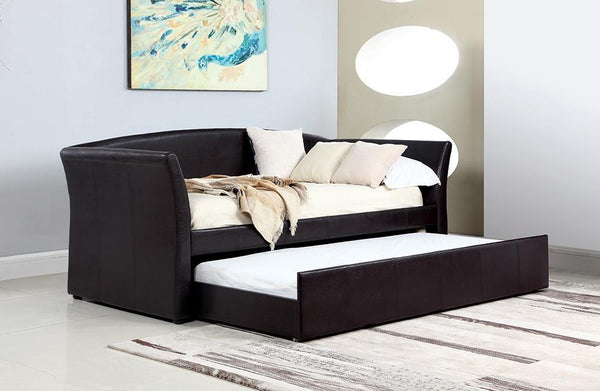 Twin Daybed With Trundle - Dark Brown - Upholstered Twin Daybed With Trundle Dark Brown
