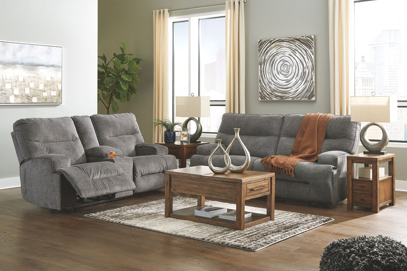 Coombs - Charcoal - 2 Seat REC Sofa & DBL REC Loveseat with Console