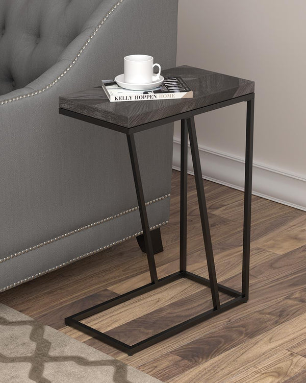 Chevron Rectangular Accent Table Rustic Grey