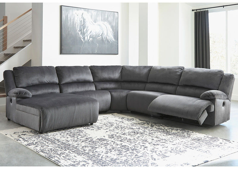 Clonmel - Charcoal - LAF Press Back PWR Chaise, Armless Chair, Wedge, Armless Recliner & RAF Zero Wall PWR Recliner Sectional