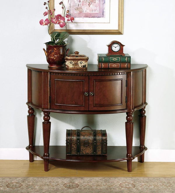 Console Table With Curved Front Brown
