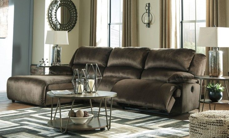 Clonmel - Chocolate - LAF Press Back Chaise, Armless Chair & RAF Zero Wall Recliner Sectional