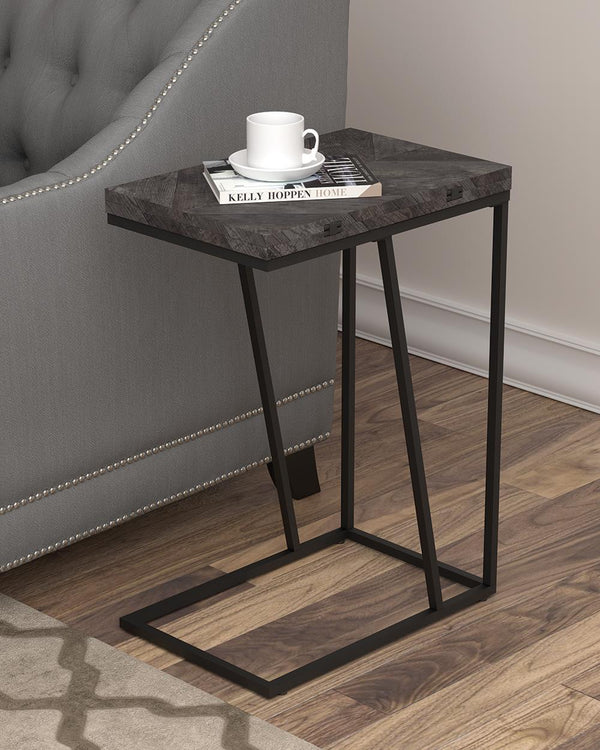Expandable Chevron Rectangular Accent Table Grey