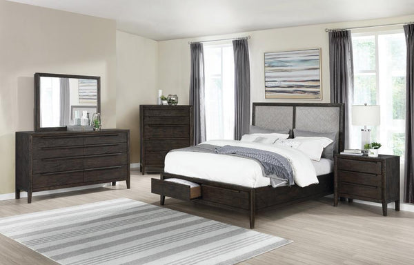 Malvern Collection - Oatmeal - Malvern California King Storage Bed French Press And Oatmeal
