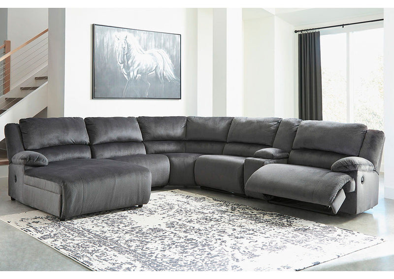 Clonmel - Charcoal - LAF Press Back Chaise, Armless Chair, Wedge, Armless Recliner, Console with Storage & RAF Zero Wall Recliner Sectional
