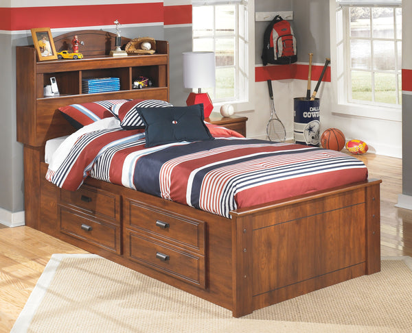 Barchan - Medium Brown - Twin Bookcase Bed with 2 Storage Drawers