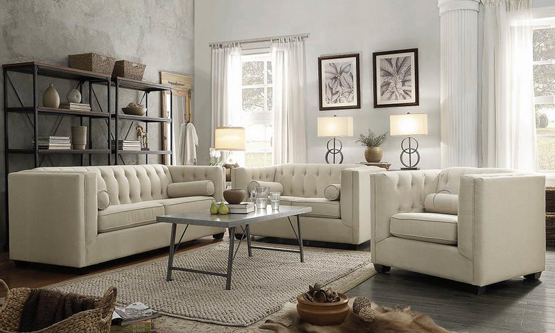 Cairns Collection - Oatmeal - Cairns Tuxedo Arm Tufted Loveseat Oatmeal