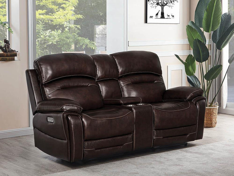 Amanda Motion Collection - Dark Brown - 3 Pc Power3 Loveseat