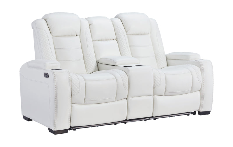 Party Time - White - PWR REC Loveseat/CON/ADJ HDRST