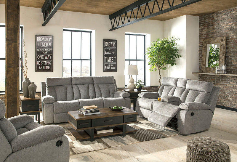 Mitchiner - Fog - REC Sofa with Drop Down Table, DBL REC Loveseat with Console & Rocker Recliner