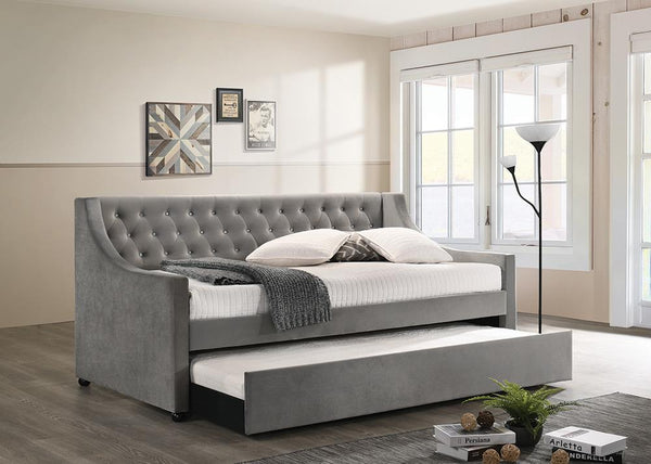 Chatsboro - Grey - Chatsboro Twin Upholstered Daybed With Trundle Grey