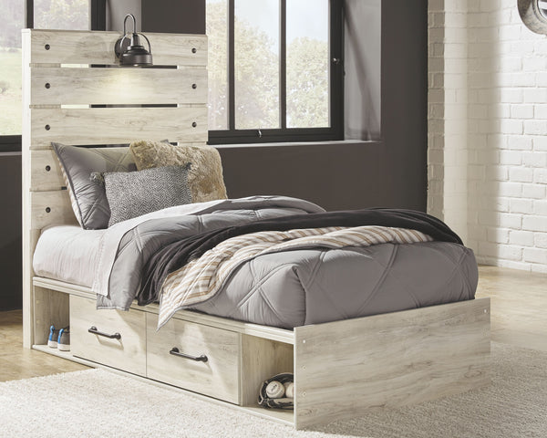 Cambeck - Whitewash - Twin Panel Bed with 2 Storage Drawers