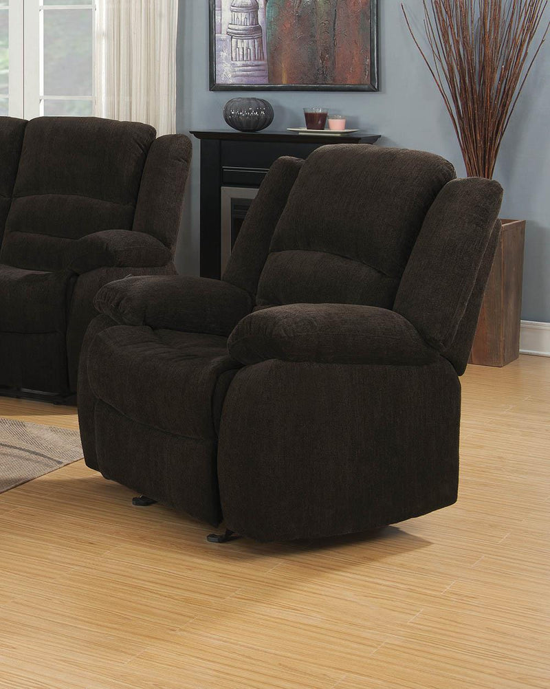 Gordon Motion Collection - Chocolate - Gordon Upholstered Glider Recliner Chocolate