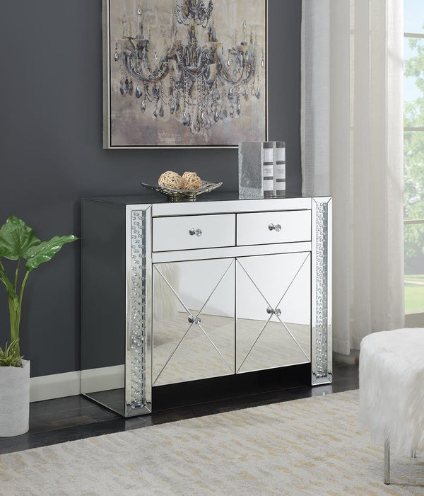 2-drawer Accent Cabinet Clear Mirror