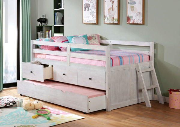 Anisa - Twin Loft Bed - Wire-Brushed White