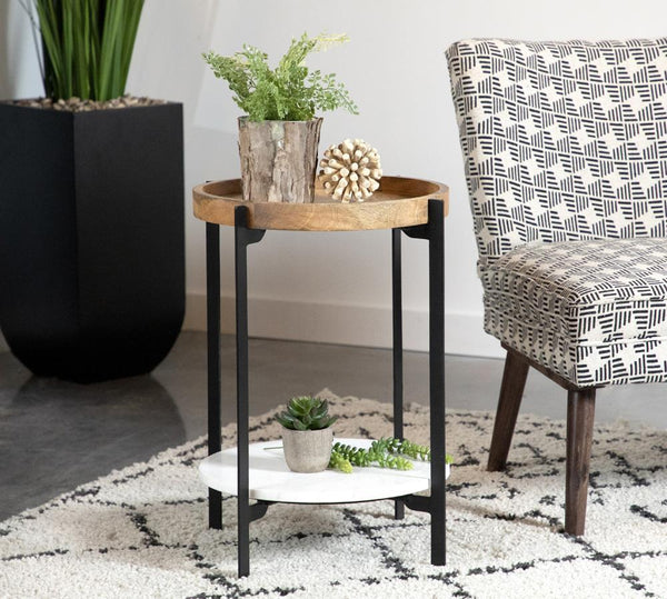 Round Accent Table With Marble Shelf Natural And Black