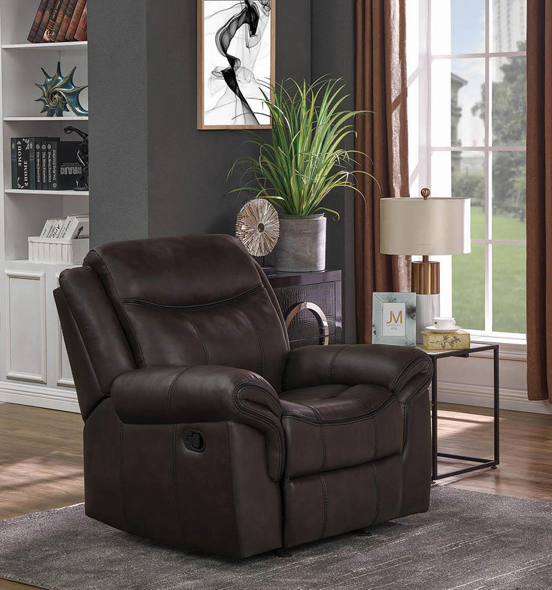 Sawyer Motion Collection - Cocoa - Sawyer Upholstered Glider Recliner Cocoa