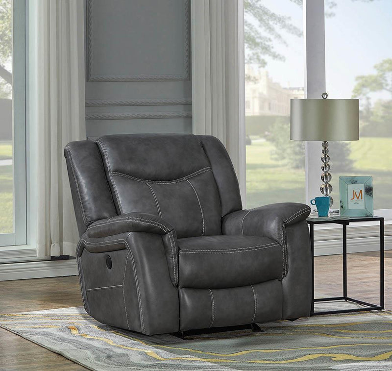 Conrad Motion Collection - Grey - Conrad Upholstered Power Glider Recliner Grey