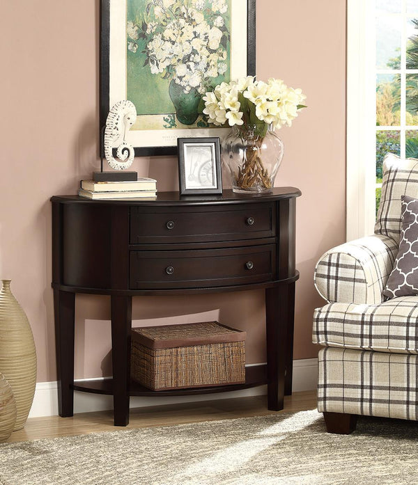 2-drawer Demilune Shape Console Table Cappuccino