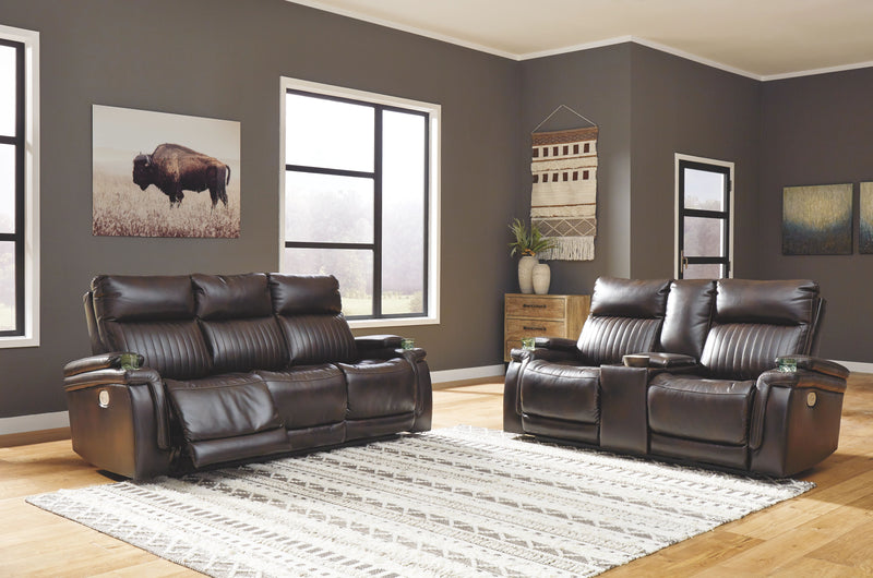 Team Time - Chocolate - 2 Pc. - Power Reclining Sofa with Adjustable Headrest & Power Reclining Loveseat