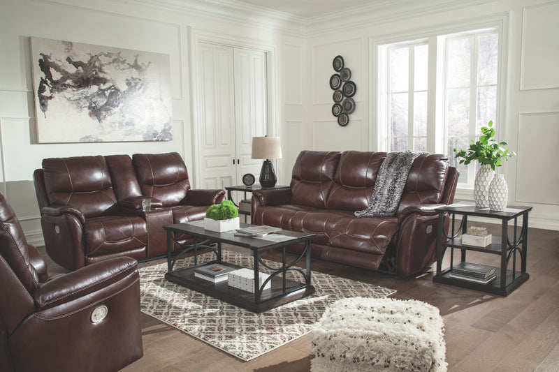 Dellington - Walnut - PWR REC Sofa with ADJ HDRST, PWR REC Loveseat/CON/ADJ HDRST, PWR Recliner/ADJ HDRST & Carisbry Table Set