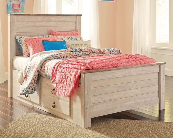 Willowton - Whitewash - Full Panel Bed with 2 Storage Drawers